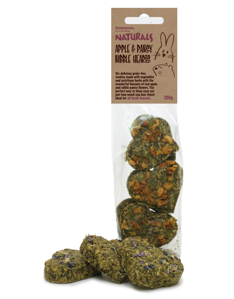 Rosewood Naturals Small Animal Treats, Apple & Pansy Nibble Hearts 6 pack