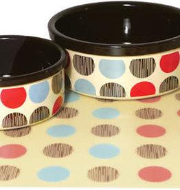 """Rosewood Stoneware 7"""" Multispot Dog Bowl Pet Dish"""