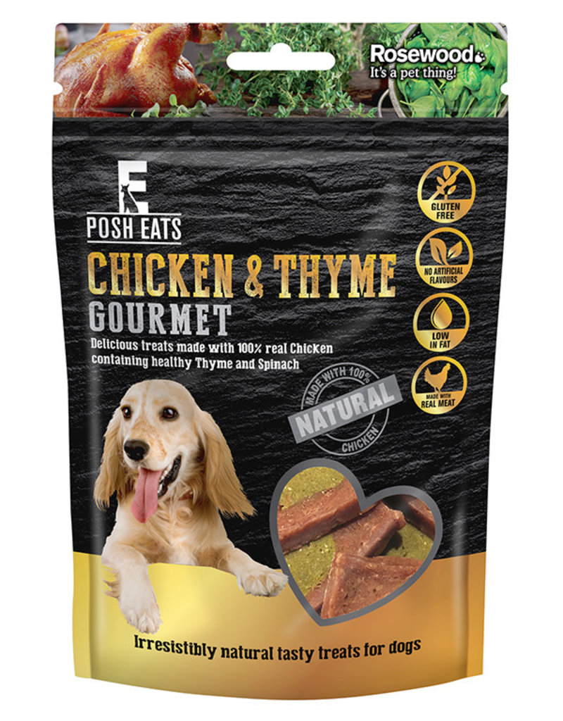 Rosewood Posh Eats Natural Chicken & Thyme Gourmet Dog Treats 80g