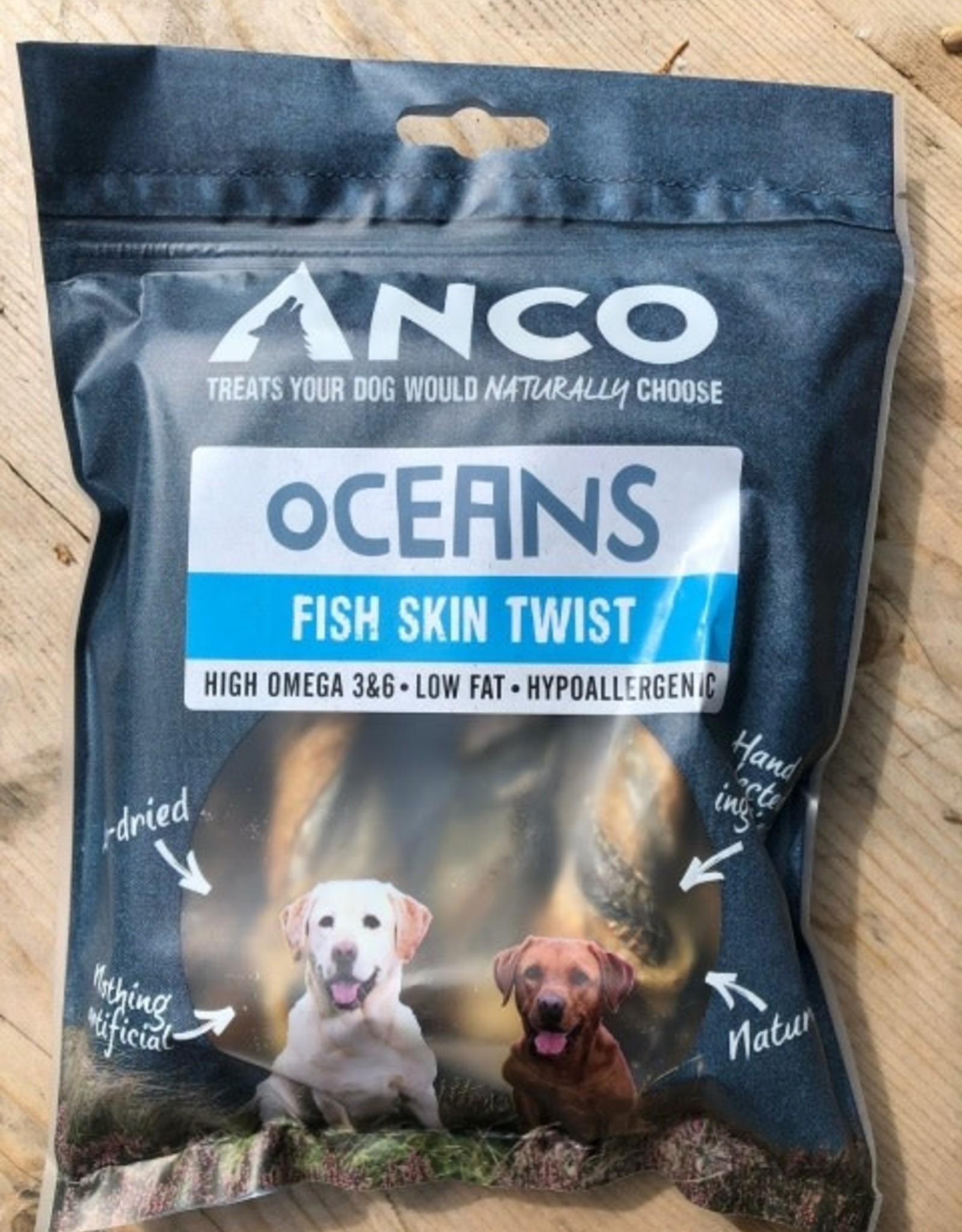 Anco Oceans Fish Skin Twists Dog Treat 100g