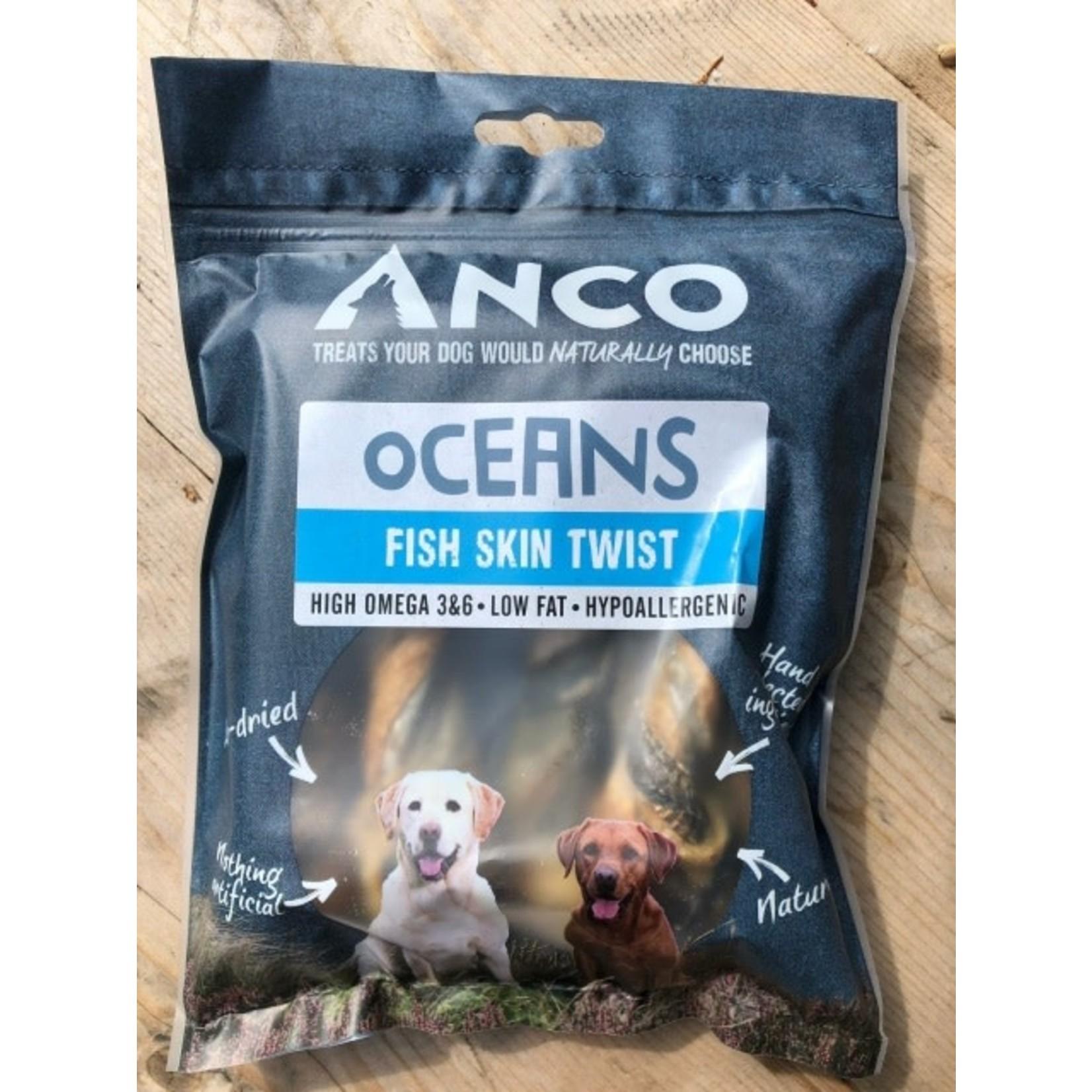 Anco Oceans Fish Skin Twists Dog Treat, 100g