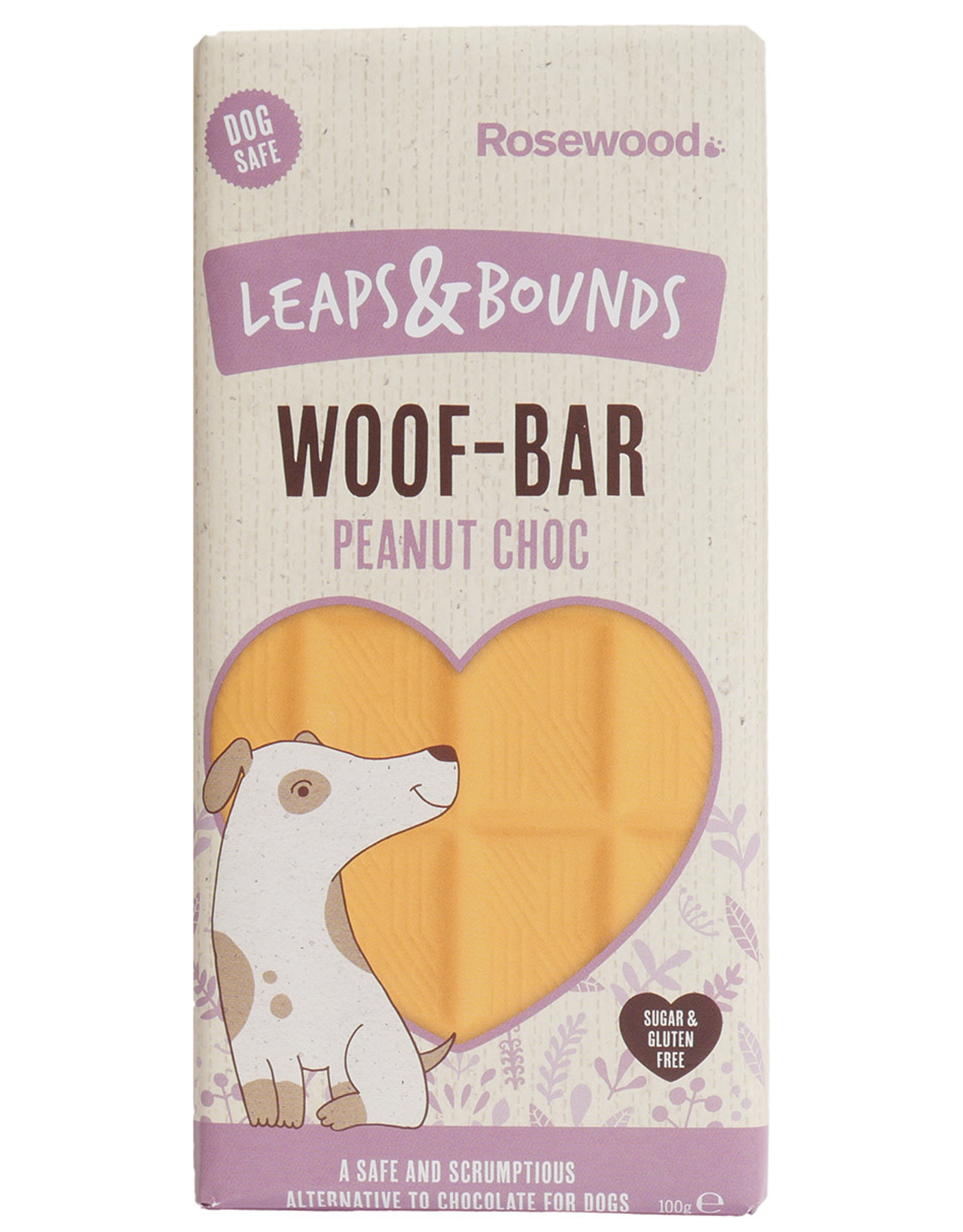 Rosewood Leaps & Bounds Woof Peanut Chocolate Bar Dog Treat, 100g
