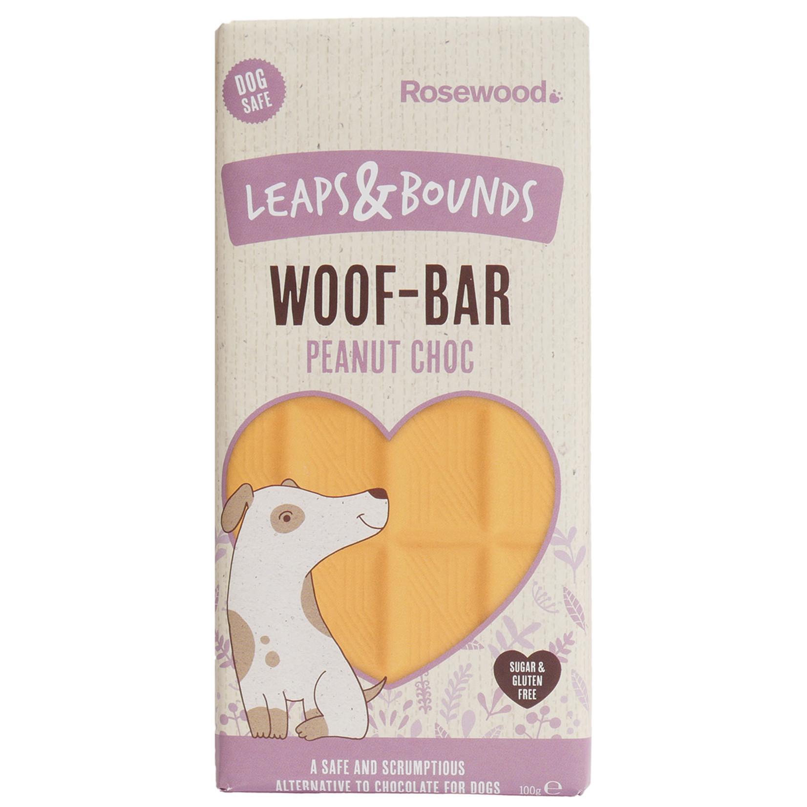 Rosewood Leaps & Bounds Woof Peanut Chocolate Bar Dog Treat, 100g