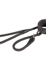 Ancol Rope Slip Lead Black/Grey Stripe 150cm x 1.2cm