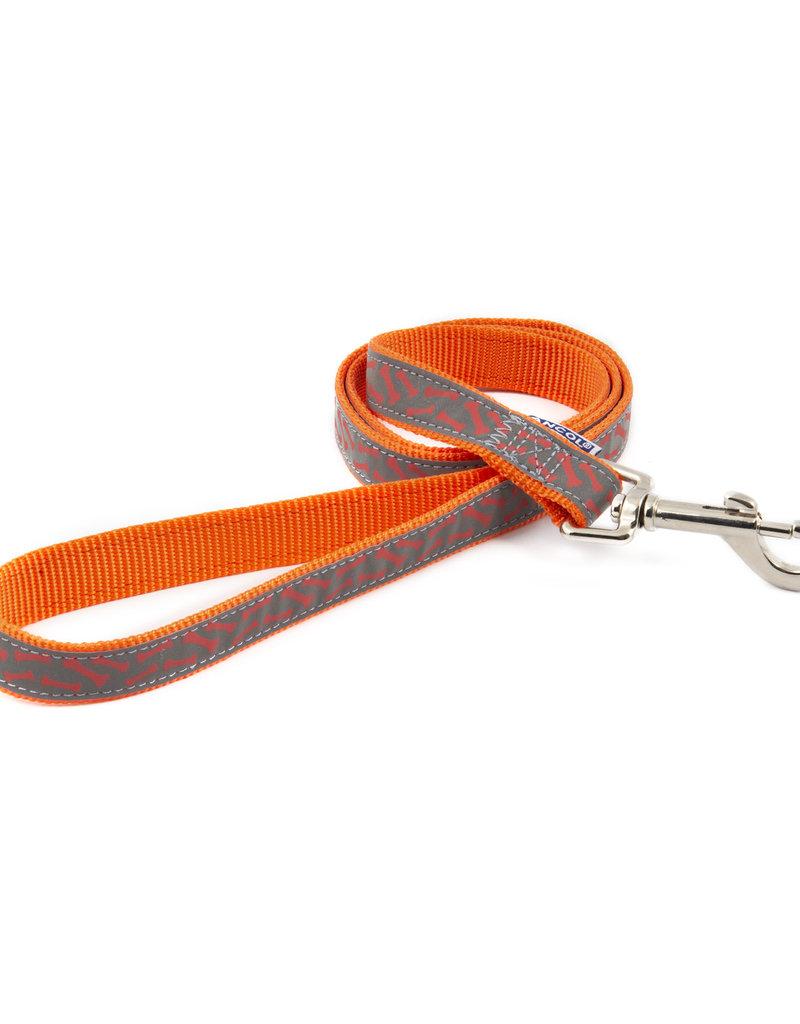 Ancol Nylon Reflective Orange Bone Lead 19mm x 1m