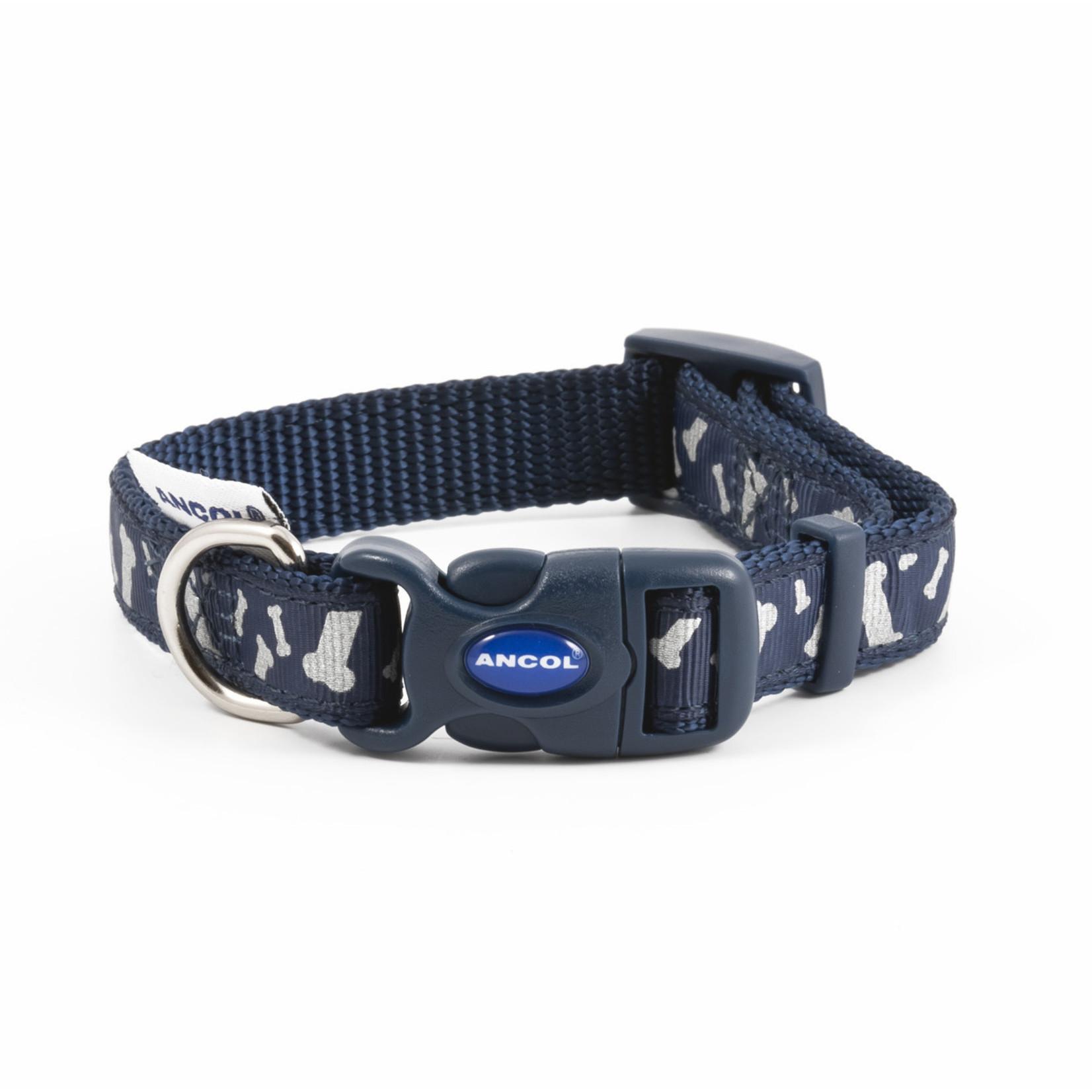 Ancol Adjustable Nylon Blue Bones Reflective Dog Collar