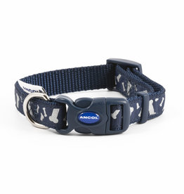 Ancol Adjustable Nylon Blue Bones Reflective Dog Collar