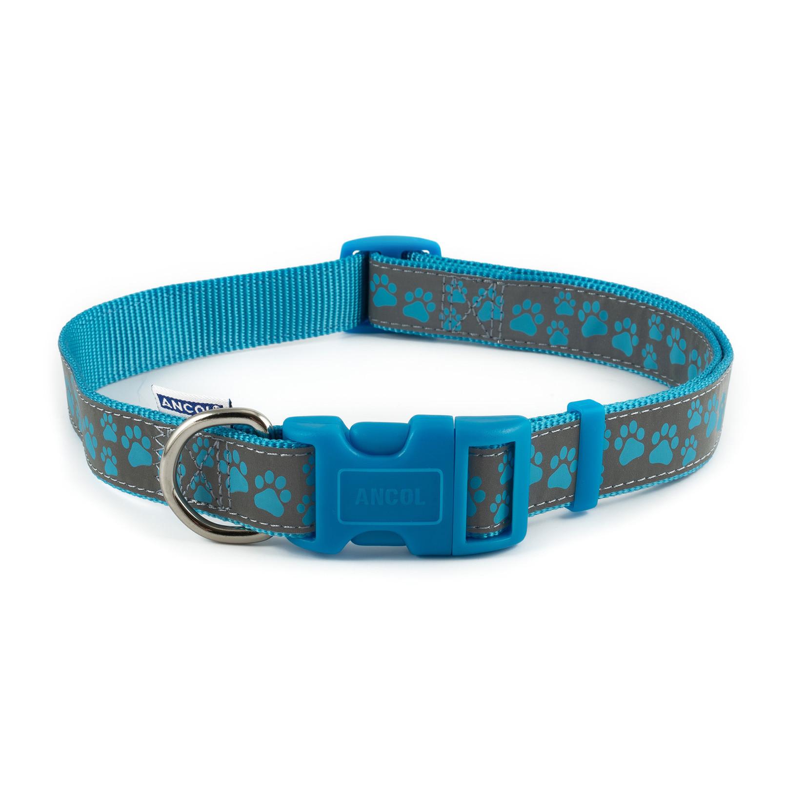 Ancol Adjustable Nylon Blue Paw Dog Collar
