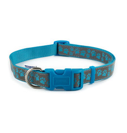 Ancol Adjustable Nylon Blue Paw Dog Collar