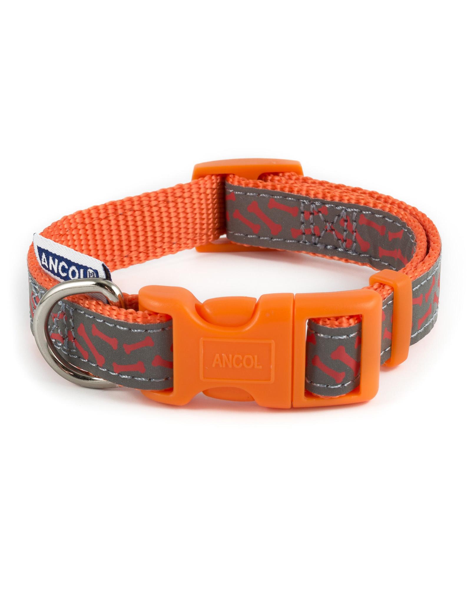 Ancol Adjustable Nylon Orange Bone Dog Collar