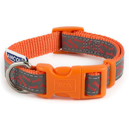 Ancol Adjustable Nylon Orange Bone Dog Collar