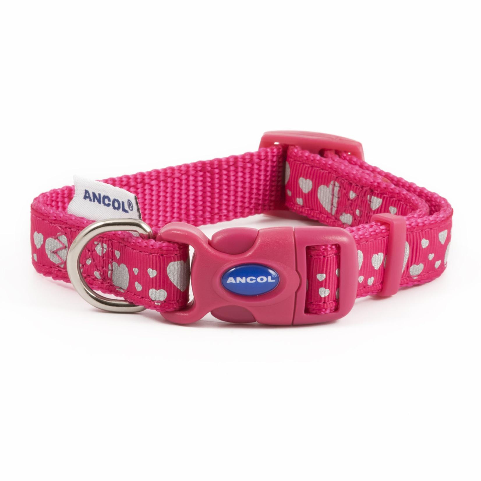 Ancol Adjustable Nylon Pink Reflective Hearts Dog Collar