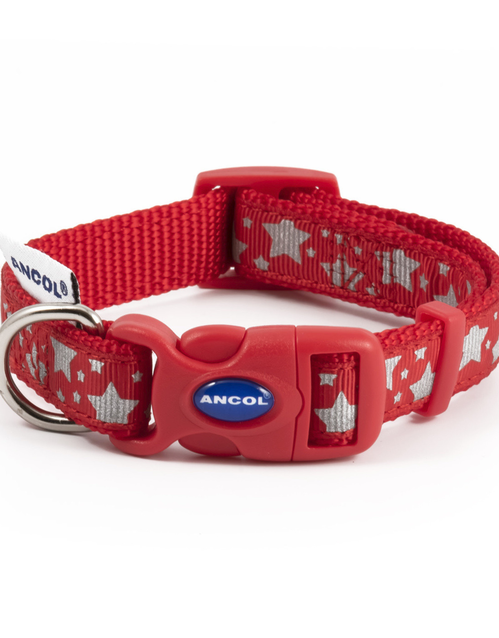 Ancol Adjustable Nylon Red Reflective Stars Dog Collar