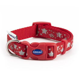 Ancol Adjustable Nylon Red Reflective Stars Dog Collar