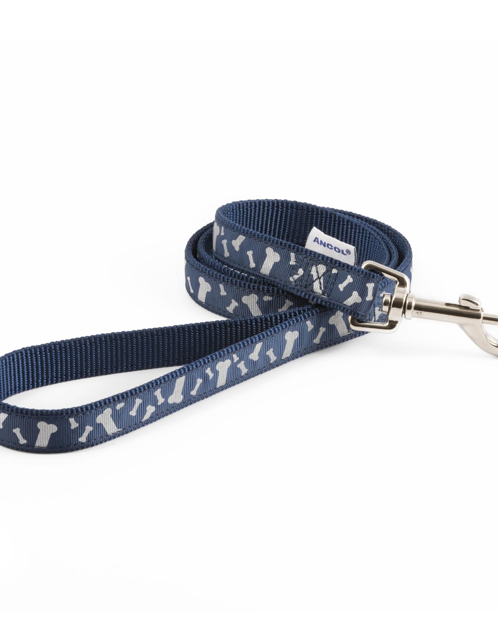 Ancol Nylon Blue Bone Reflective Dog Lead 19mm x 1m
