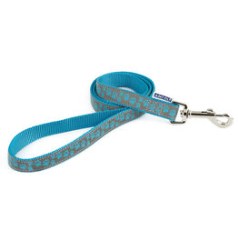 Ancol Nylon Reflective Blue Paw Dog Lead 100cm x 19mm