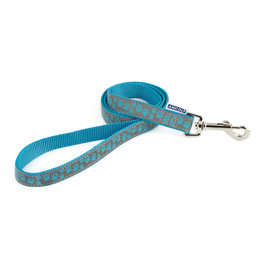 Ancol Nylon Reflective Blue Paw Dog Lead 100cm x 19mm