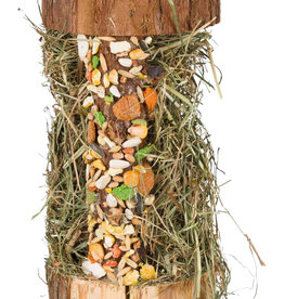 Trixie Wooden Tower with Mountain Meadow Hay Small Animal Treat, 17cm, 110g