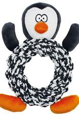 Happy Pet Christmas Knottie Ring Penguin Dog Toy