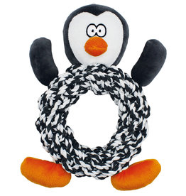 Happy Pet Christmas Knottie Ring Penguin Dog Toy
