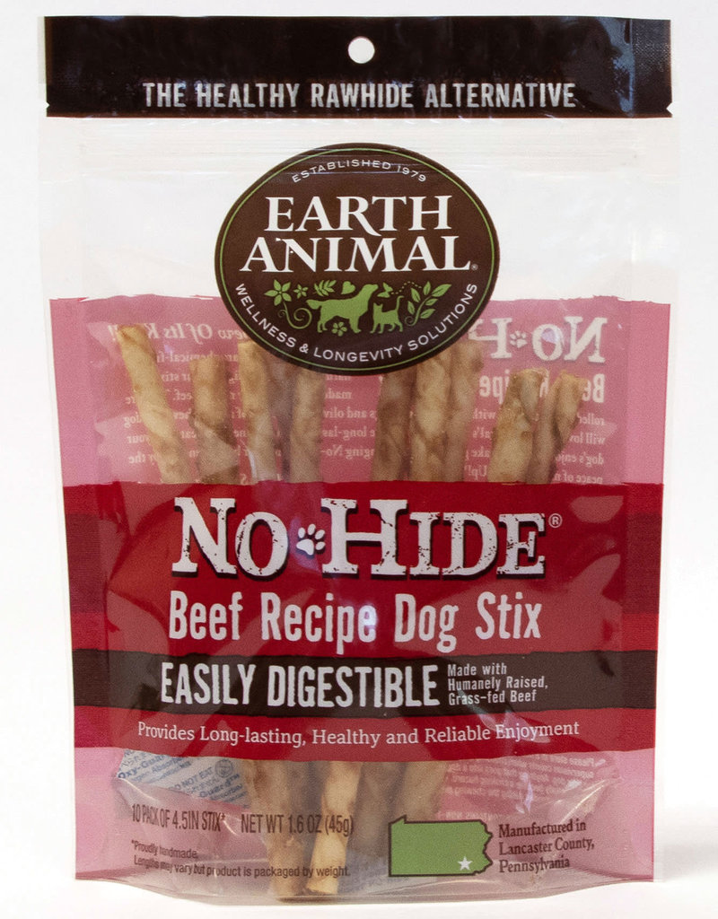 Earth Animal No Hide Beef Recipe Dog Stix Chew 10 pack 45g