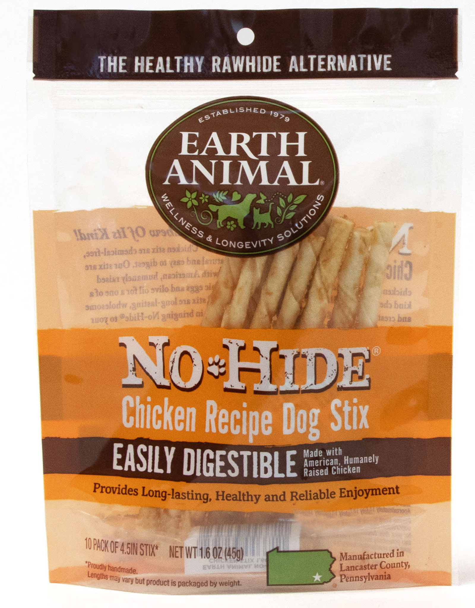 Earth Animal No Hide Chicken Recipe Dog Stix Chew 10 pack 45g