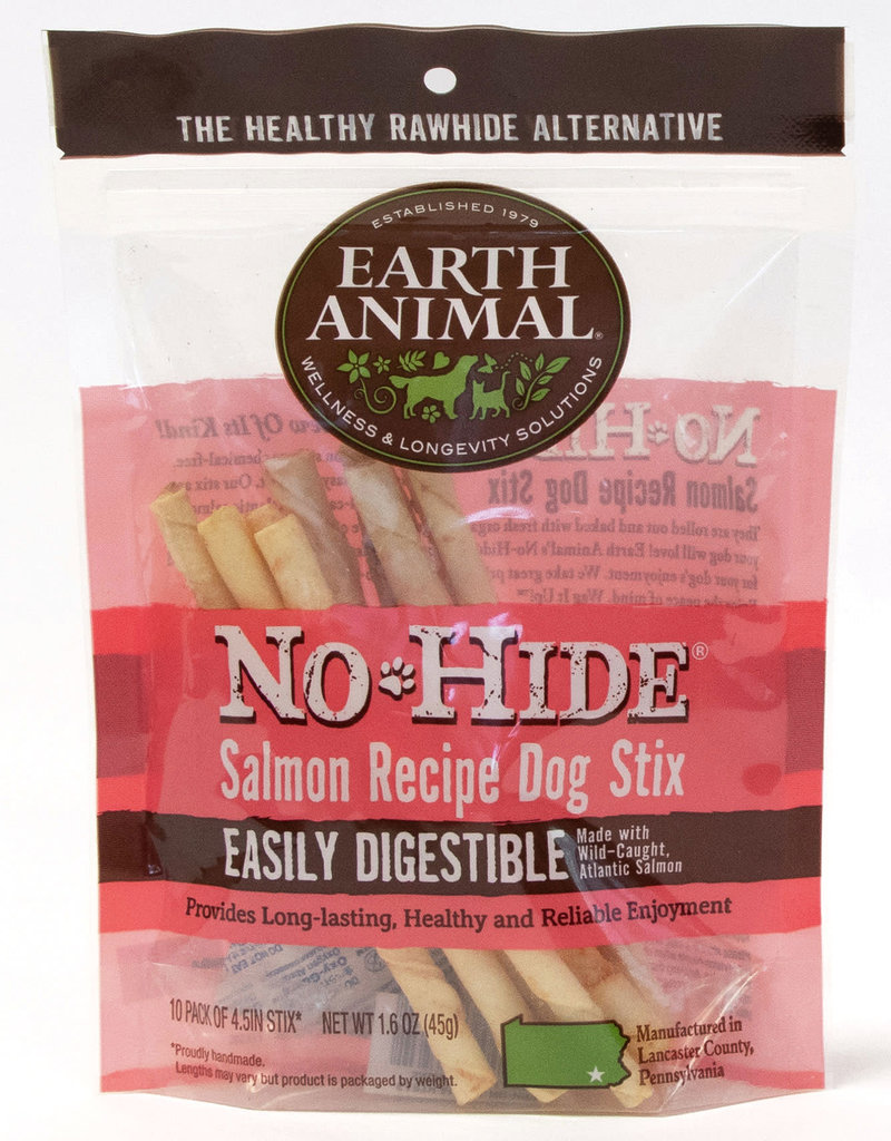 Earth Animal No Hide Salmon Recipe Dog Stix Chew 10 pack 45g
