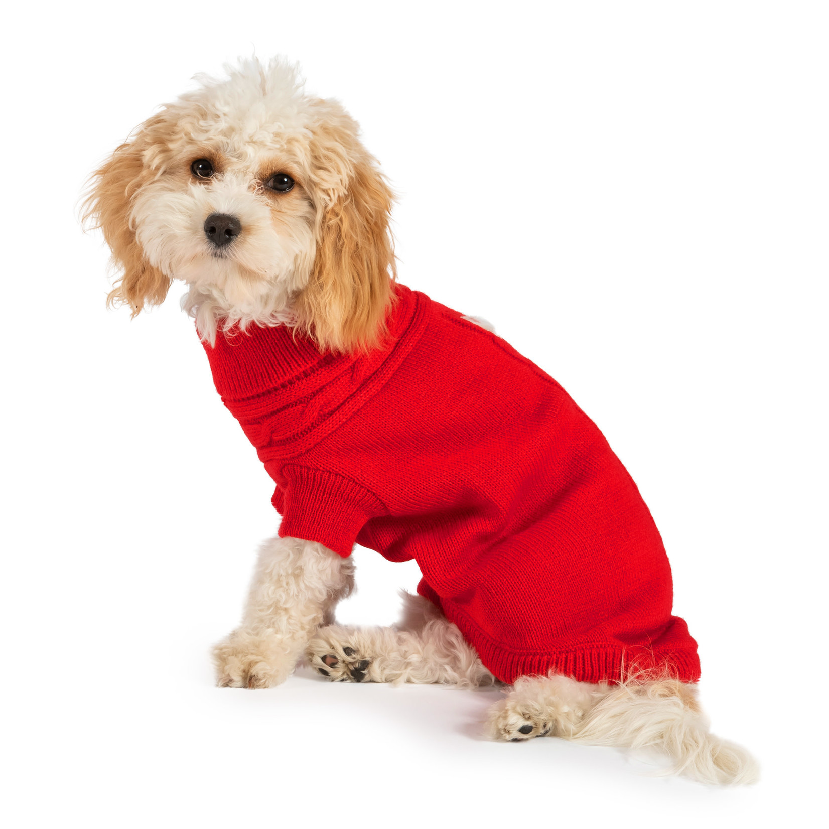 Ancol Cable Knit Dog Jumper in Red