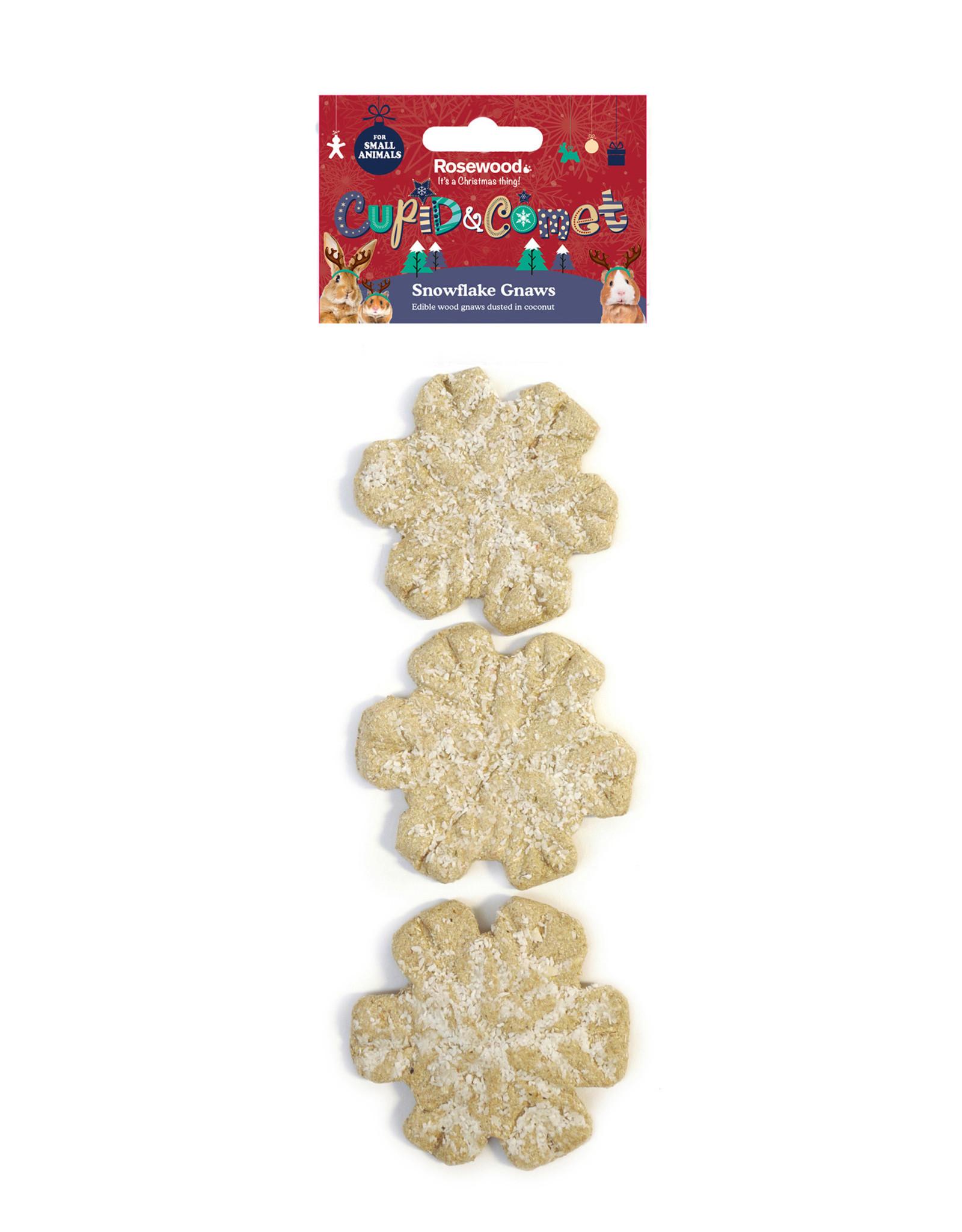 Rosewood Christmas Cupid & Comet Small Animal Edible Snowflake Gnaws 3 pack