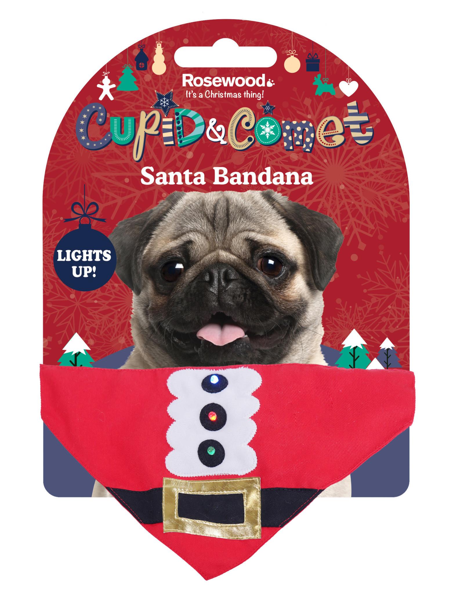 Rosewood Christmas Light Up Santa Bandana for Dogs