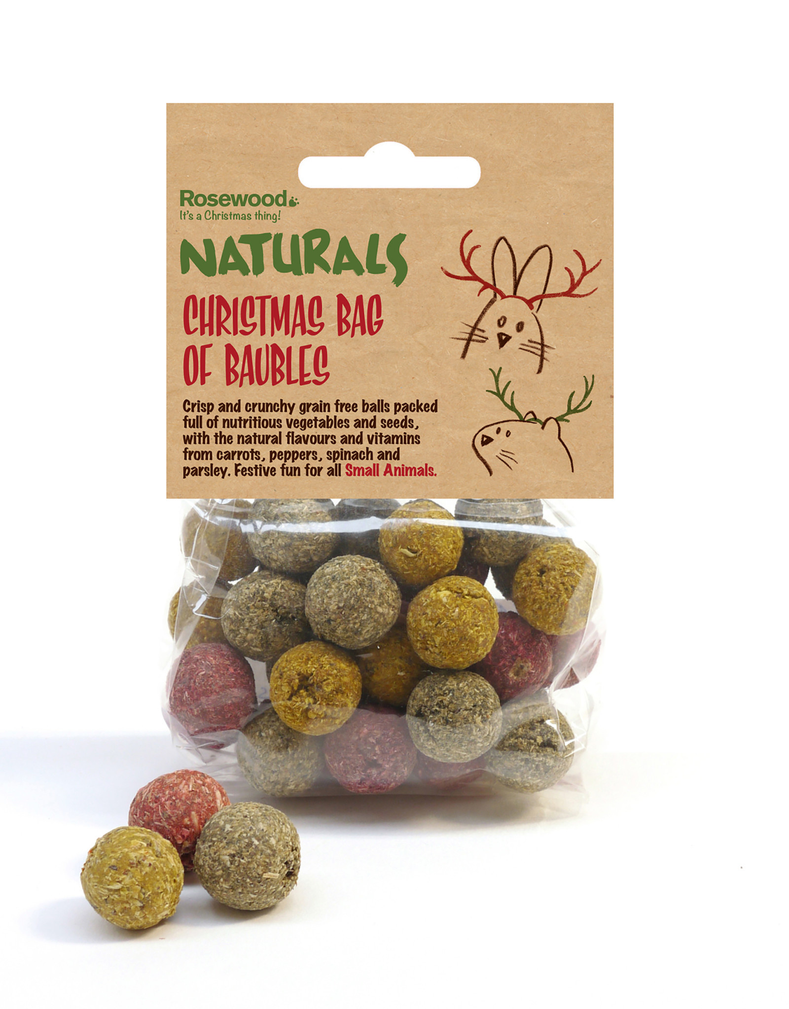 Rosewood Christmas Naturals Bag of Baubles Small Animal Treats, 100g