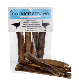jr pet products Ostrich Straws Trachea Natural Dog Chew Treats, 4 pack