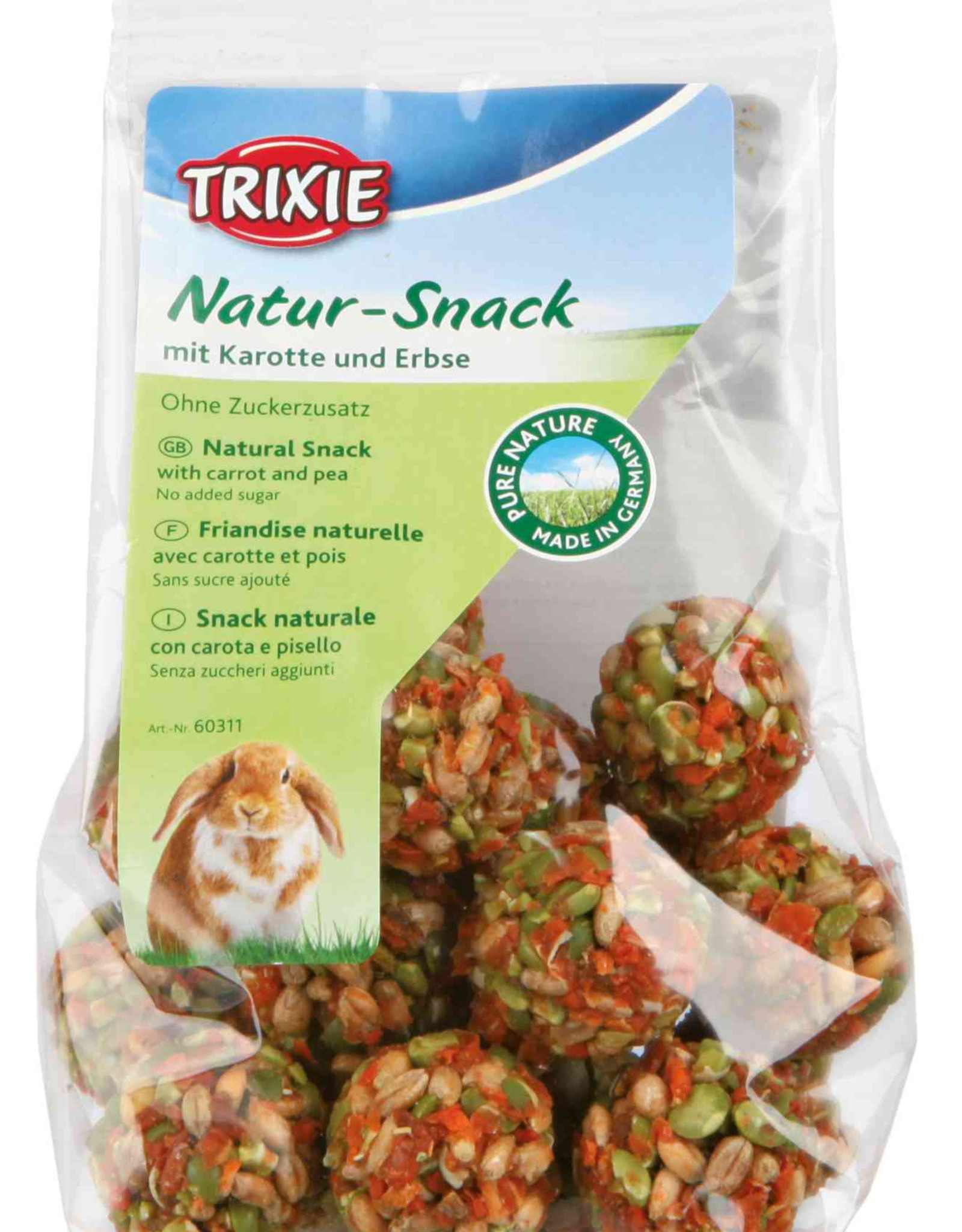 Trixie Natur-Snack Small Animal Ball Shape Treats with Carrot and Pea 140g
