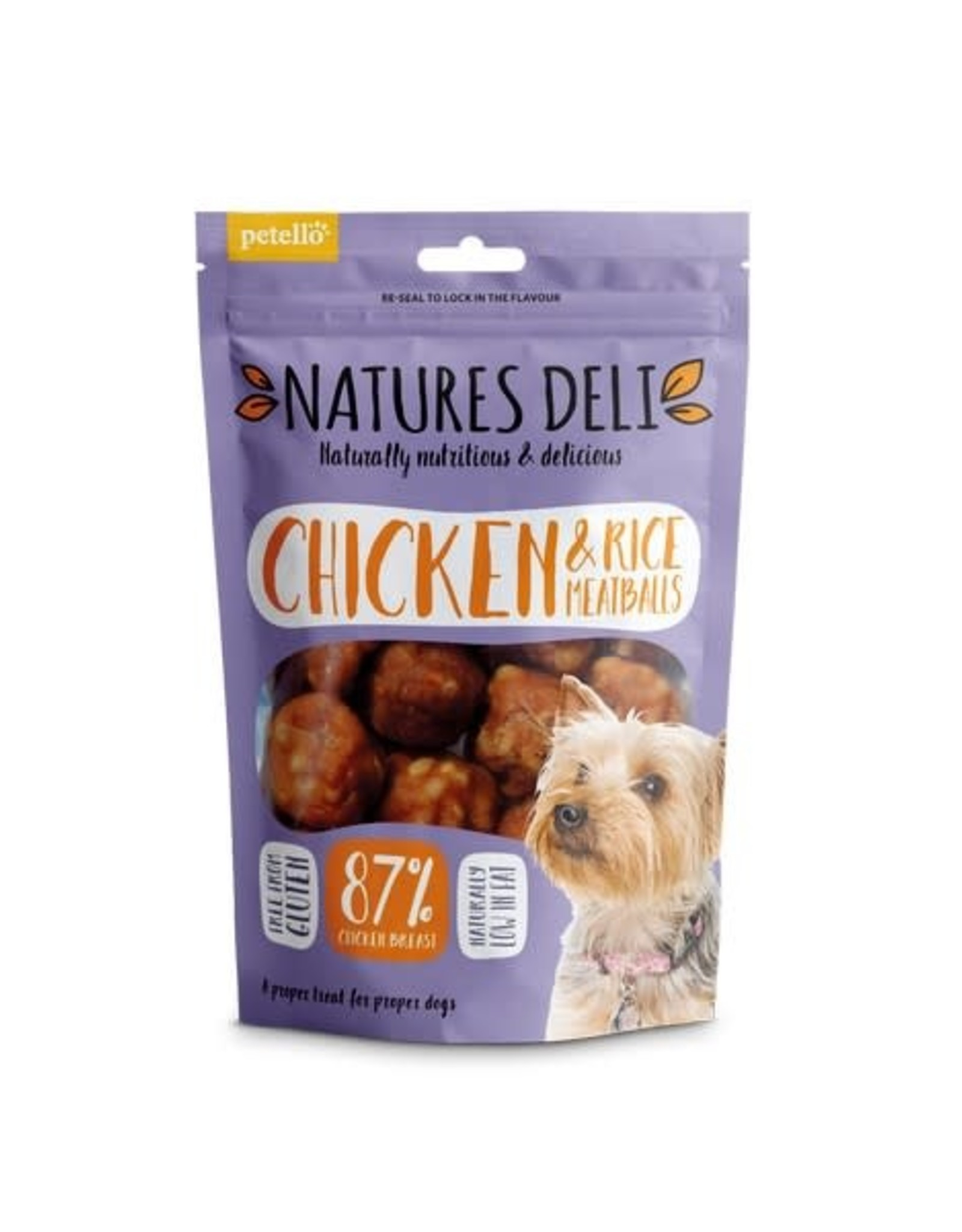 petello Natures Deli Chicken and Rice Meatball Dog Chews 100g