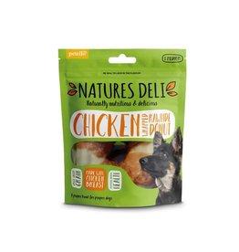 petello Natures Deli Grain Free Chicken Wrapped Rawhide Donut Dog Chew Treats, 75g