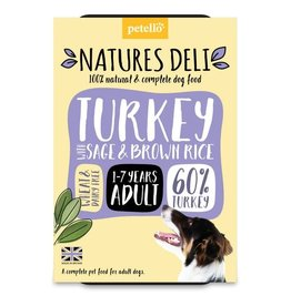 petello Natures Deli Wet Adult Dog Food, Turkey with Sage & Brown Rice 400g