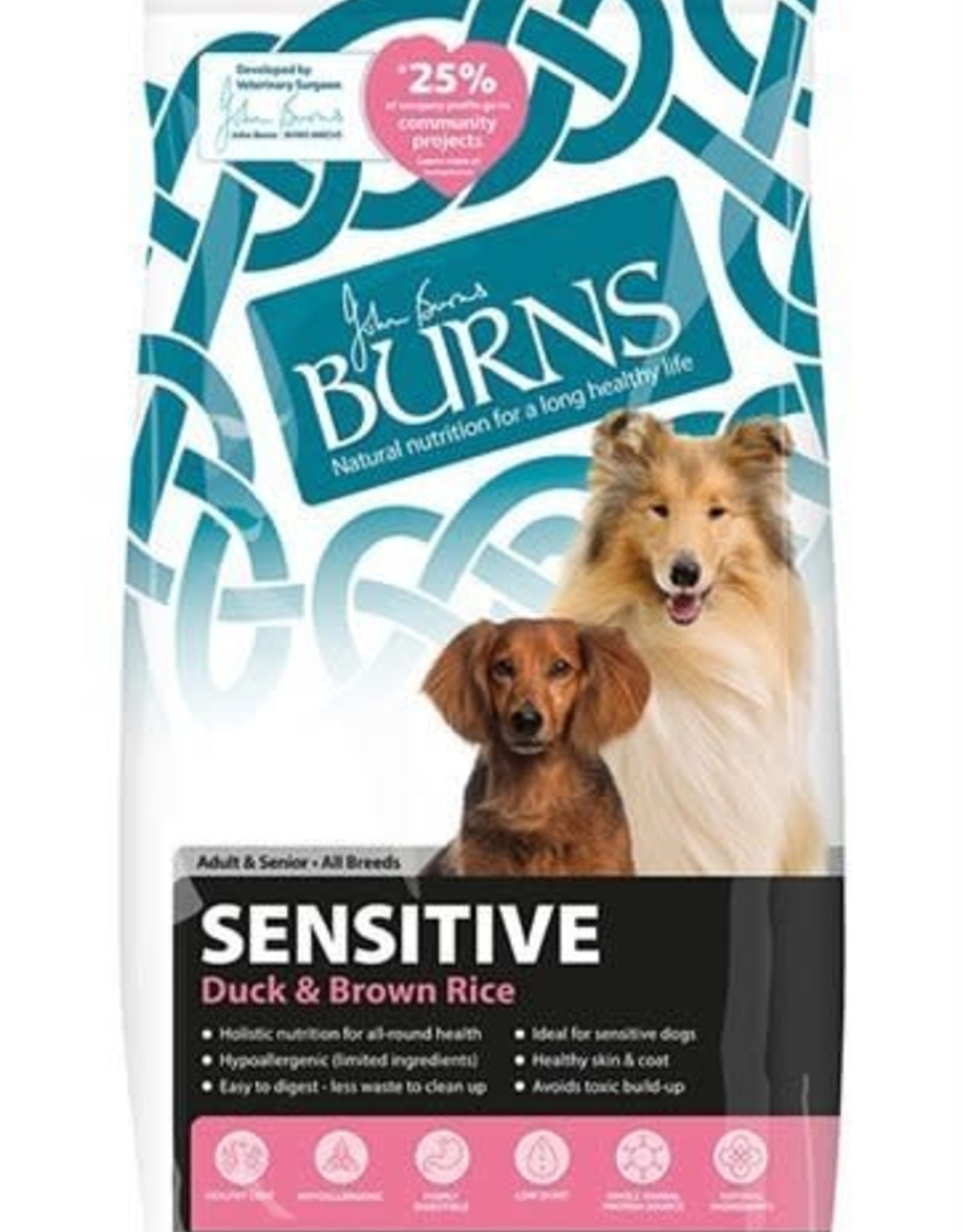 Burns Sensitive Dog Dry Food, Duck & Brown Rice