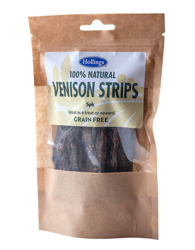 Hollings 100% Natural Dog Treats Venison Strips 5 pack