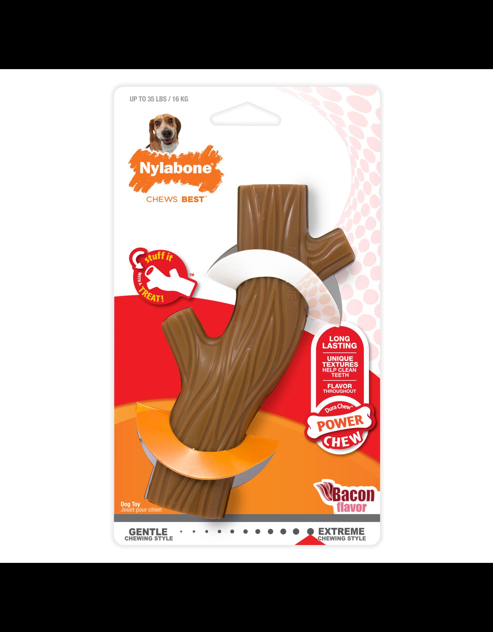 Nylabone Extreme Chew Wooden Stick Dog Toy Bacon