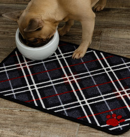 Pet Rebellion Dinner Mate Large Absorbent Pet Food Mat, Tartan 40x60cm