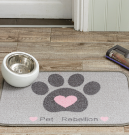 Pet Rebellion Dinner Mate Large Absorbent Pet Food Mat, Heart 40x60cm