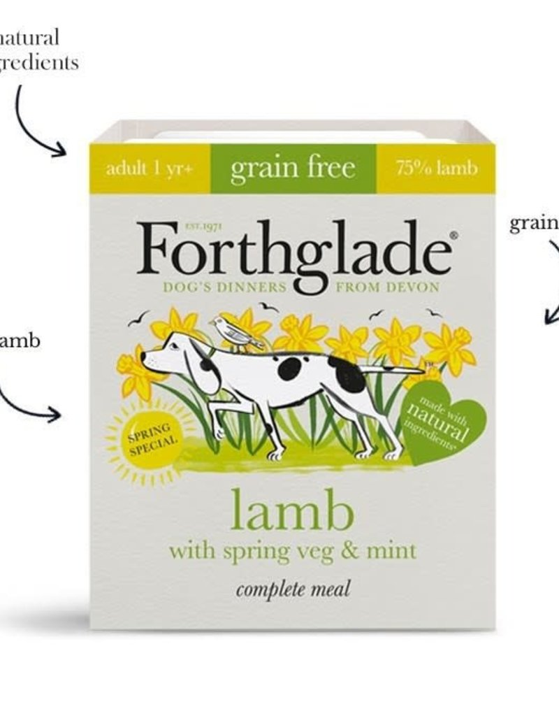 Forthglade Complete Adult Lamb With Spring Veg & Mint Grain Free Wet Dog Food 395g