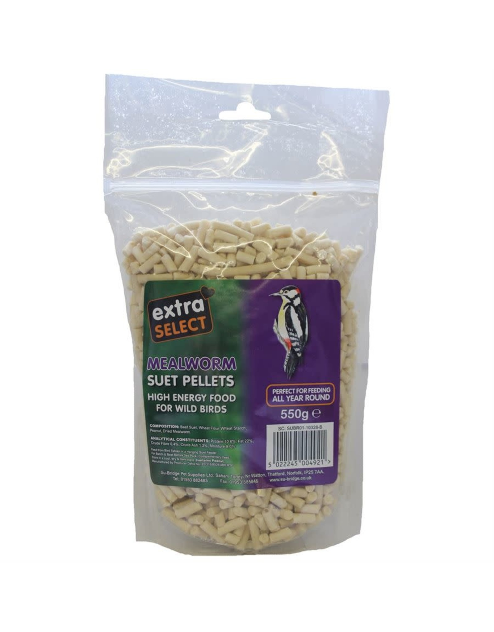 Extra Select High Energy Wild Bird Suet Pellets with Mealworm 550g