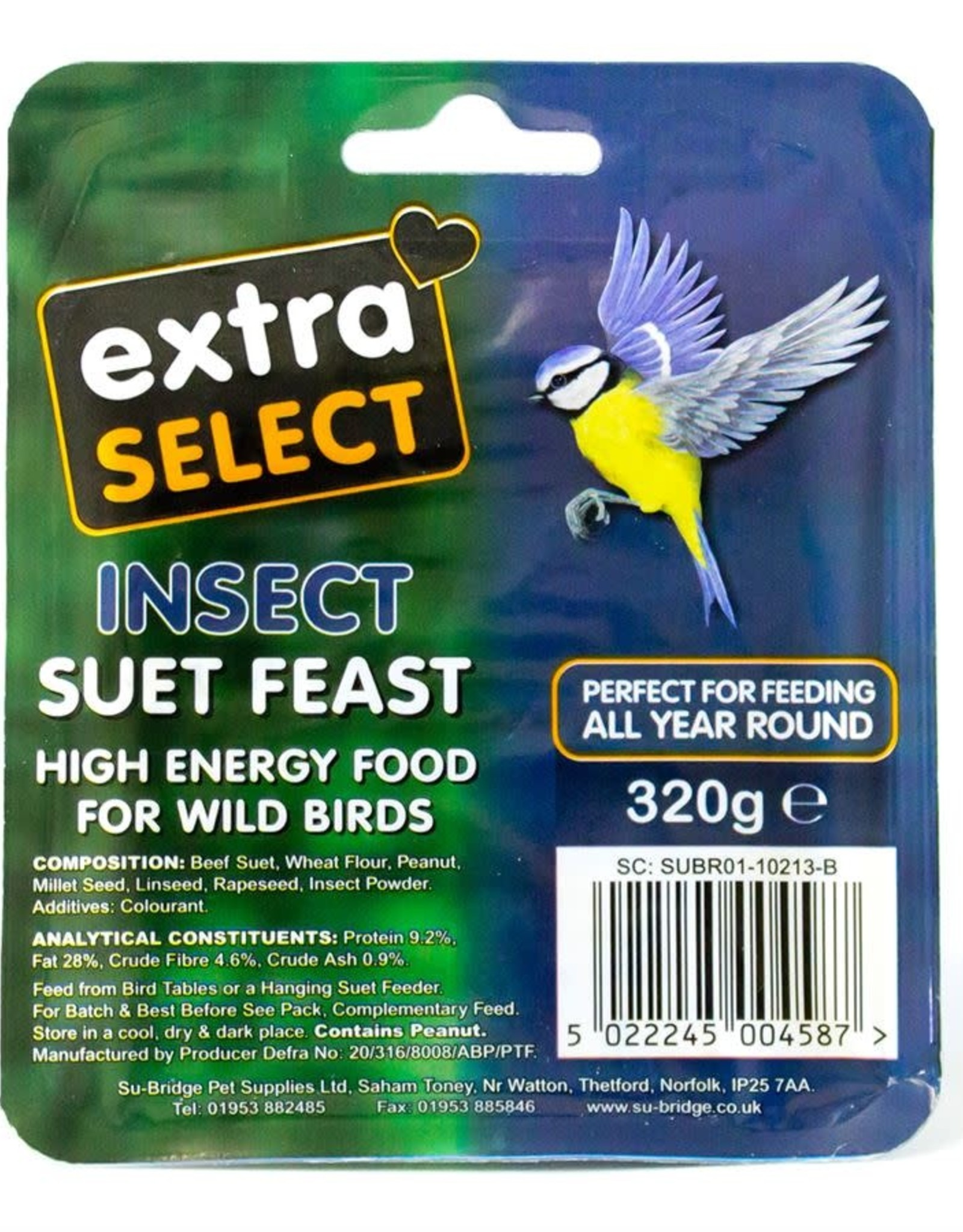 Extra Select Suet Block for Wild Birds, with Insect 320g