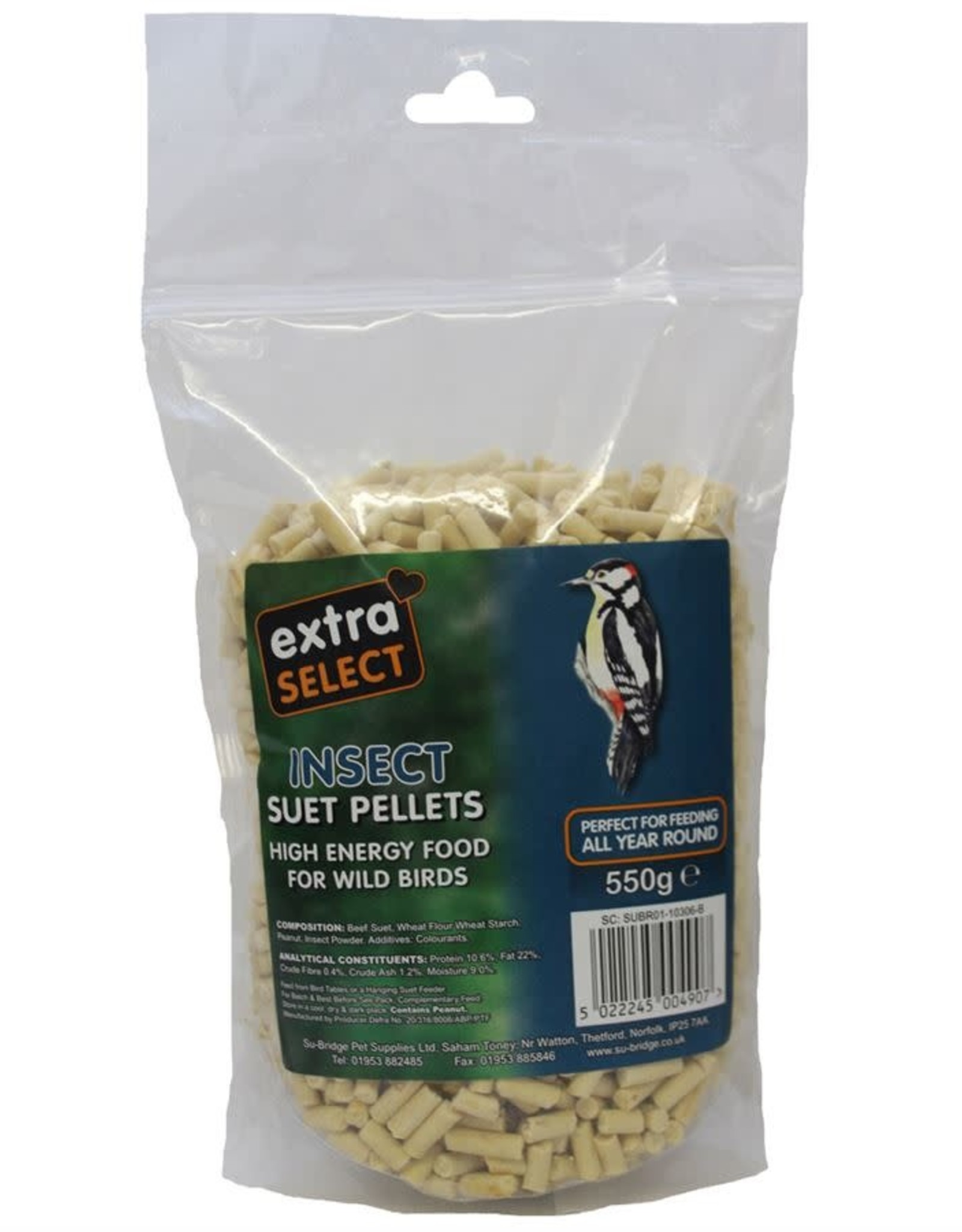 Extra Select High Energy Wild Bird Suet Pellets with Seed and Insect 3kg