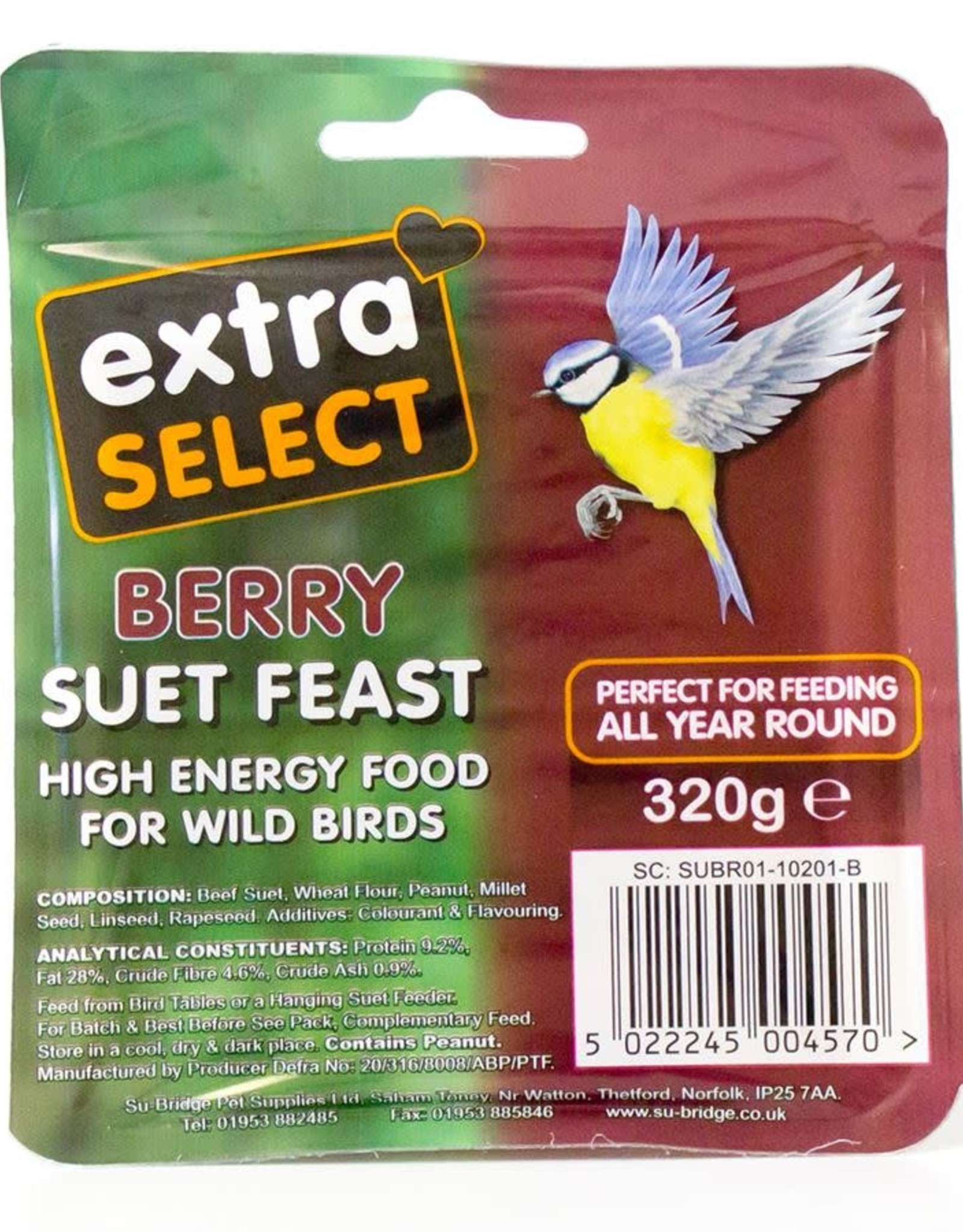 Extra Select Suet Block for Wild Birds, with Berry 320g