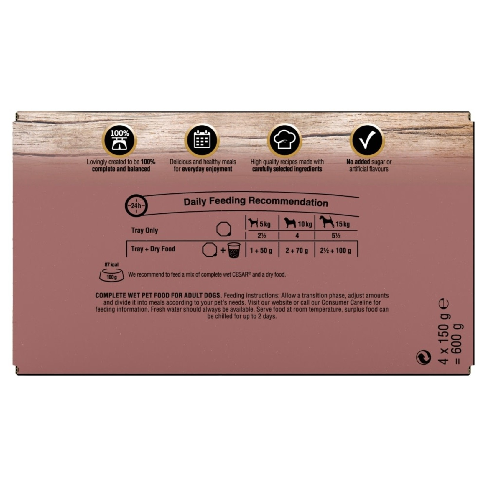 Cesar Adult Dog Wet Food Tray Country Kitchen Selection, 4 x 150g