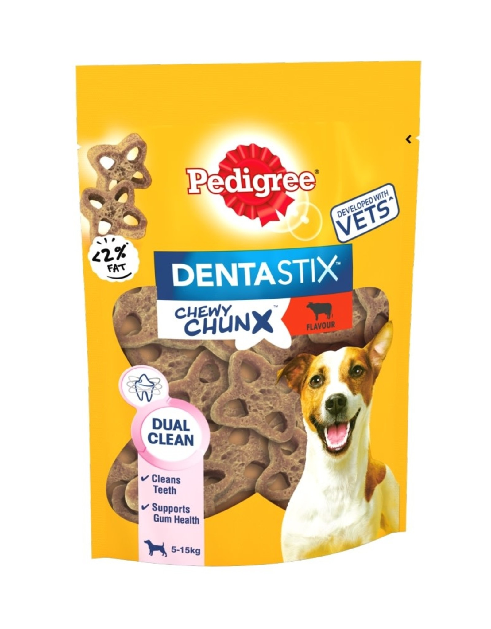 Pedigree Dentastix Chewy Chunx Mini Dog Treats Beef Flavour 68g