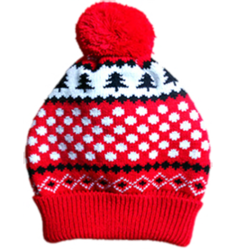 Animate Red & Black Snowflake Dog Bobble Hat
