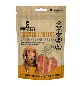 Rosewood Natural Eats Chicken & Cheese Bacon Shaped Dog Treats, 100g